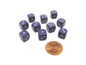 Pack of 10 Deluxe Round Edge Small 10mm Opaque D6 Dice - Purple