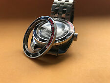 NEW POLISHED RED/BLACK Custom Bezel for Vostok Amphibian Komandirskie Watch
