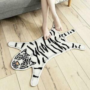 Huichenxing2021FURSTORE Tiger Printed Rug Faux Fur Skin Animal Area Carpet White