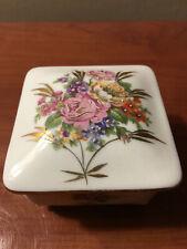 LIMOGES FRANCE VINTAGE ANTIQUE TRINKET BOX WITH LID FLOWERS PORCELAIN