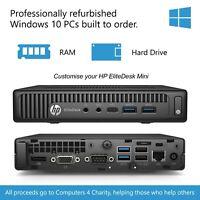 HP EliteDesk 800 G2 Mini, i5-6500, Win 10 PC, 4 / 8 GB RAM, 128 / 240 SSD, WiFi