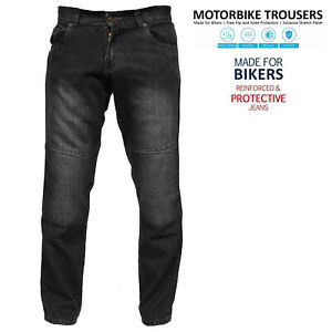 Mens Motorcycle Pants Relax Fit Bootcut Armoured Protective Jeans Black Trouser