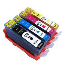 4x Compatible Ink Cartridges HP 670XL (B+Y+C+M) for Deskjet 3525/4615/4625/5525
