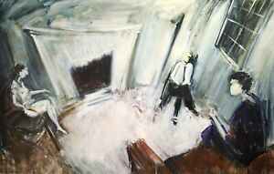 1960's HUGE EXPRESSIONIST OIL CANVAS - FIGURES IN A DRAWING ROOM - VERY UNUSUAL