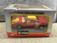 FERRARI 348TB EVOLUZIONE RACE CAR RED 1:24 BURAGO DIE-CAST MODEL *BOXED*