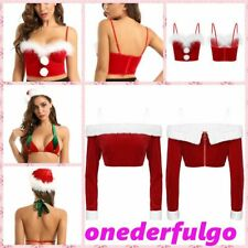 Sexy Women's Off Shoulder Crop Top Costume Christmas Holiday Slim Fit Tops Shirt