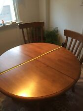 5 Piece Dining Set Wood Furniture 4 Chairs and   Round Table  With One Extension
