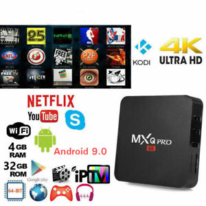 TV BOX ANDROID 9.0 IPTV 4K FULL HD 1080P 4GB 64GB RAM SMART DECODER WIFI MXQ PRO