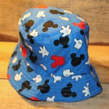 Disney Blue Mickey Mouse Logo & Hands Infant Toddler Sun Bucket Hat +
