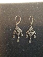 Vintage sterling silver marcasite earrings dangle drop