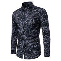 Men's Casual 3D Printing Colorful Slim Fit Long Sleeve Dress Shirt Blouse Tops