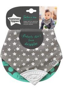 Tommee Tippee Teethe & Chew Bandana Bib - 3 Months+ (Grey / White Star) *NEW*
