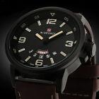 Mens Watch Analog Quartz Date Sport Army Military Leather Waterproof Wrist Watch