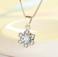 Elegant *Snow-Flake* 925 Sterling Silver Micro-inlay 2.0 Cts CZ Pendant Necklace