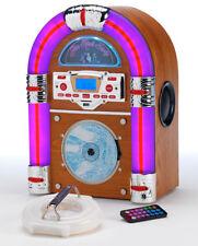 Steepletone Jive Rock Sixty Table Top Jukebox Bluetooth CD Mp3 Light Wood