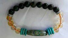 CITRINE AND BLOODSTONE With Three EyedDzi Bead& Turquois(GreenHowlite) Bracelet