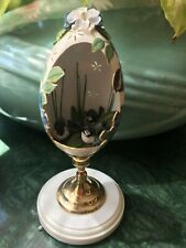 Beautiful Hand Crafted Real Goose Egg Diorama Birds on a Footed Stand Signed