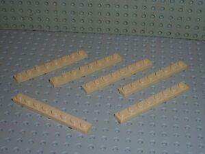 6 x LEGO Tan Plate 1 x 8 ref 3460 / Set 7184/9761/7264/7190/4758/4708/6212/7660.
