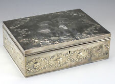 Antique1902 Silver William Comyns Leather Bound Letter Box Repousse Angels Edwardian (1901-1910)