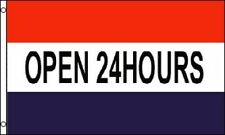 "5 X 3FT ""OPEN 24HOURS"" ADVERTISEMENT POLYESTER FLAG RED BLUE WHITE"