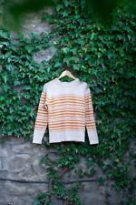 TOAST 100% Wool Striped Sweater Jumper Burnt Orange and Cream Size Medium UK 12