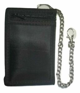 Black Wallet ID Card/Credit Card Holder Trifold Wallet With Security Chain