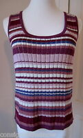 ST JOHN SPORT PURPLE-MULTI STRIPED STRETCH KNIT SLEEVELESS TANK TOP SIZE SMALL