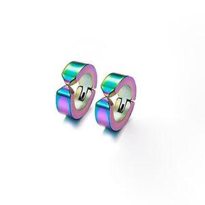Colorful Non Piercing Magnet Earrings Stainless Steel Charm Hoop Earrings Set