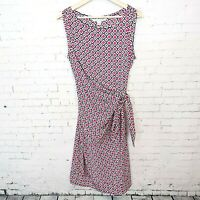 Diane Von Furstenberg Womens Faux Wrap Dress Size 10 Pink Geometric Print
