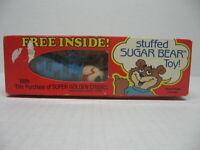 Vintage Super Golden Crisp Stuffed Sugar Bear Toy Sealed In Original Box