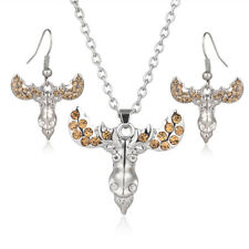 """Moose Head Necklace & Earrings Set - Sparkling Crystal - Fish Hook - 17"""" Chain"""