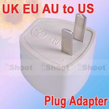 UK EU AU to US American AC Power Plug Adapter Converter