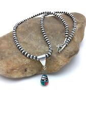 Mop Turquoise Inlay Pendant 2704 Native American Sterling Multicolor Coral