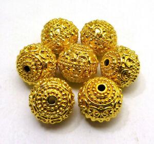 8 PCS 12MM SOLID COPPER BALI BEAD 18K GOLD PLATED 365 ESH-284