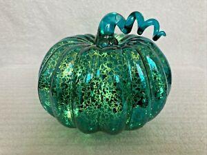"""NEW: LIGHTED BLUE MERCURY GLASS PUMPKIN 7"""" Wide x 5"""" Tall HALLOWEEN THANKSGIVING"""