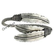 Western Feathers Antiqued Silver Rope Women's Fashion Fun Cuff Bangle Bracelet