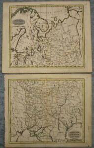 RUSSIA EUROPEAN RUSSIAN EMPIRE 1802 WALKER ANTIQUE COPPER ENGRAVED 2 SHEETS MAP