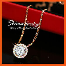 18K GOLD GF P84 ROUND 2CT HUG SIMULATED DIAMONDS WEDDING WOMENS SOLID PENDANT