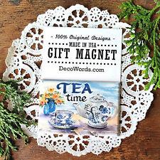 DecoWords Fridge Magnet * Tea Time * Dutch blue Tea Cups *Cute Gift for Friends