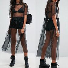 Sexy Women See-through Mesh Midi Dress Sheer Maxi Dress Tulle Lace Long Skirt AU