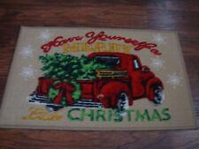 red truck Christmas floor mat