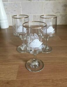 3 x Vintage Small Wine Glasses with white Swan Design with gold Rim  #KIT