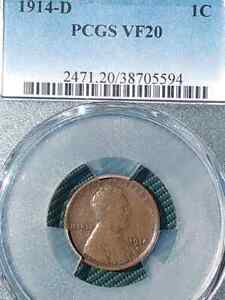 1914 D PCGS VF20 LINCOLN WHEAT CENT KEY DATE VERY NICE LOOKING CENT!!  1914D