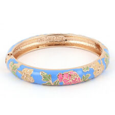 Chinese Style Gold Plated Floral Enamel Bangle Cuff Bracelet Jewelry Blue