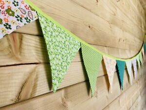 Bunting💚 💛Green & Yellow Floral Polka Stripe Shabby Chic Vintage Fabric 3m💚💛
