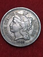 1869 Clash die Philadelphia Mint Three Cent Nickel #55gec