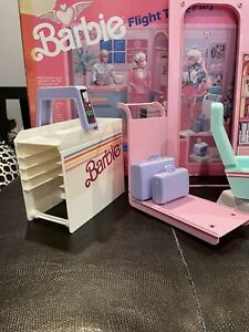 Barbie Doll FLIGHT TIME 1989 Airport Terminal + Airplane Playset Near Complete