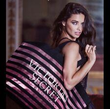 NWT Victoria's Secret Black Metallic Pink Stripe Travel Tote Bag Shopper Purse