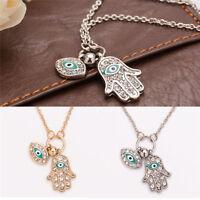 Fatima Hamsa Hand Turkey Blue Evil Eye Necklace Charm Pendant Jewish Jewelry FR