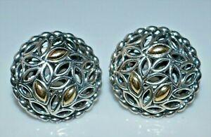 Angela by JOHN HARDY Sterling Silver 14k Gold Leaves Dome Pierced Earrings